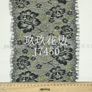J7450 gold thread eyelash lace fire.