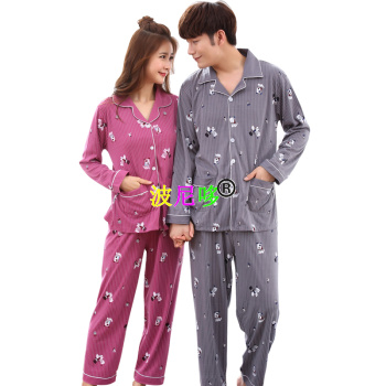 Spring cotton long-sleeved pajama couples take home clothes.