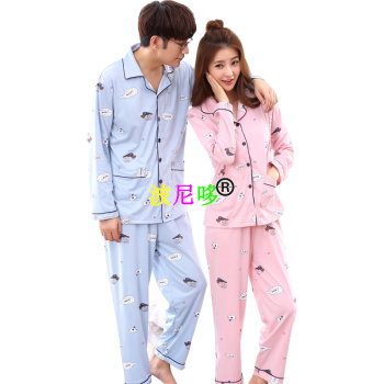 Spring men and women cotton long-sleeved pajamas cute cartoon couple home dress.