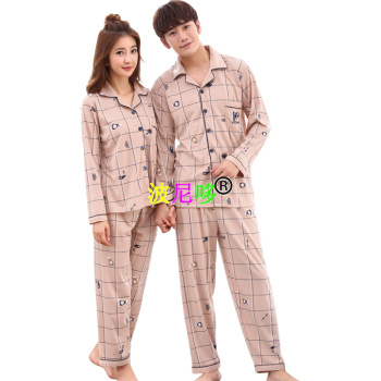 Lovers long sleeve cotton pajamas for men and women.