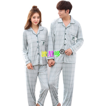 Spring men and women cotton pajama lovers long sleeve lapel collars to open the home dress.