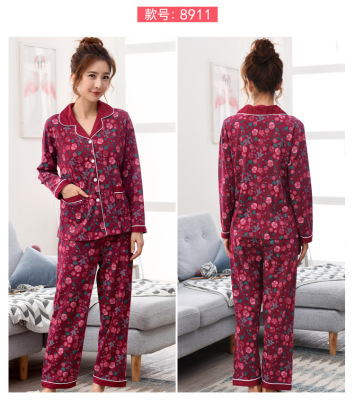 Spring pure cotton long-sleeved pajamas women add weight to the yard.