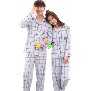 Spring new lovers pajamas men and women long sleeve cotton gingham home dress.