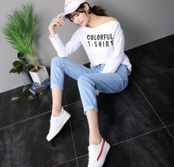 New jeans in the spring, women's nine-point baggy pants, high-waisted jeans, female han chao.