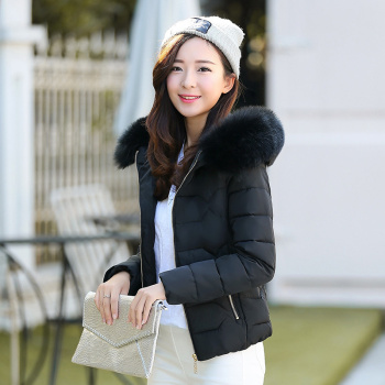 New style down cotton-padded women's short version of the Korean  winter women's wear hooded fur collar coat.
