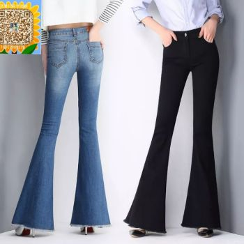 Spring style autumn denim pants women retro mid - waist slim long trousers and slimming Korean version.