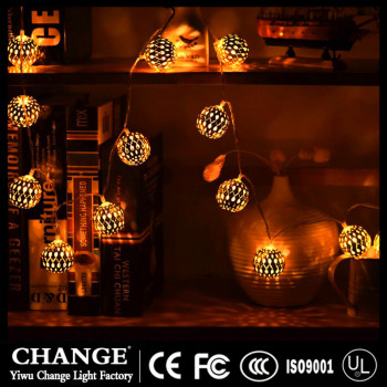 LED Christmas lights with a series of iron ball lamps hollowed out Moroccan night lights.