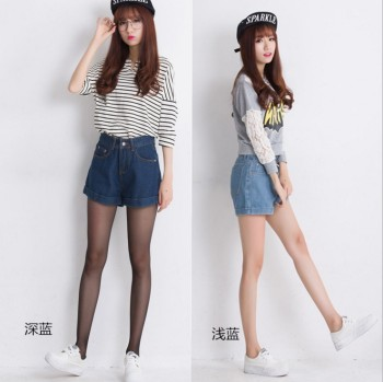 Denim shorts female summer new broad-legged high-waisted denim shorts with loose curly shorts.