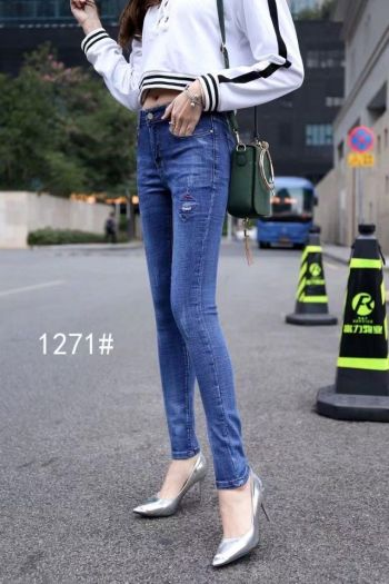 Spring new jeans and pants south Korean version of the slim waist trousers in the waist.