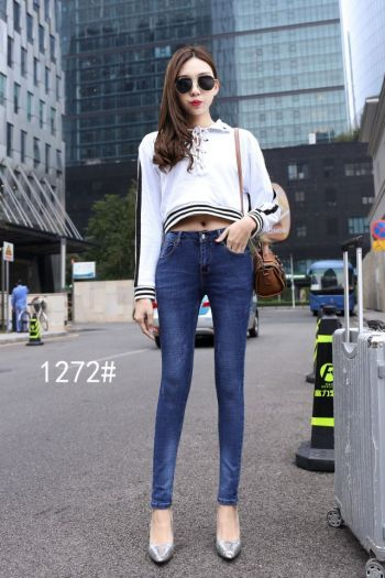 Spring and autumn new jeans women's trousers han edition slim pants high waist size 1272.