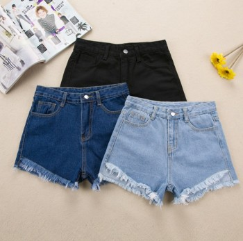 New women's dress south Korean hair side high-waisted denim shorts female east gate fringe hot pants.