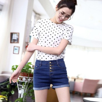 Denim shorts female spring and summer new high-waisted jeans and shorts female stretch denim pants.