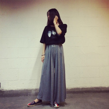 Spring and summer mordale casual pants big size yoga pants baggy wide-leg pants high-waisted leggings.