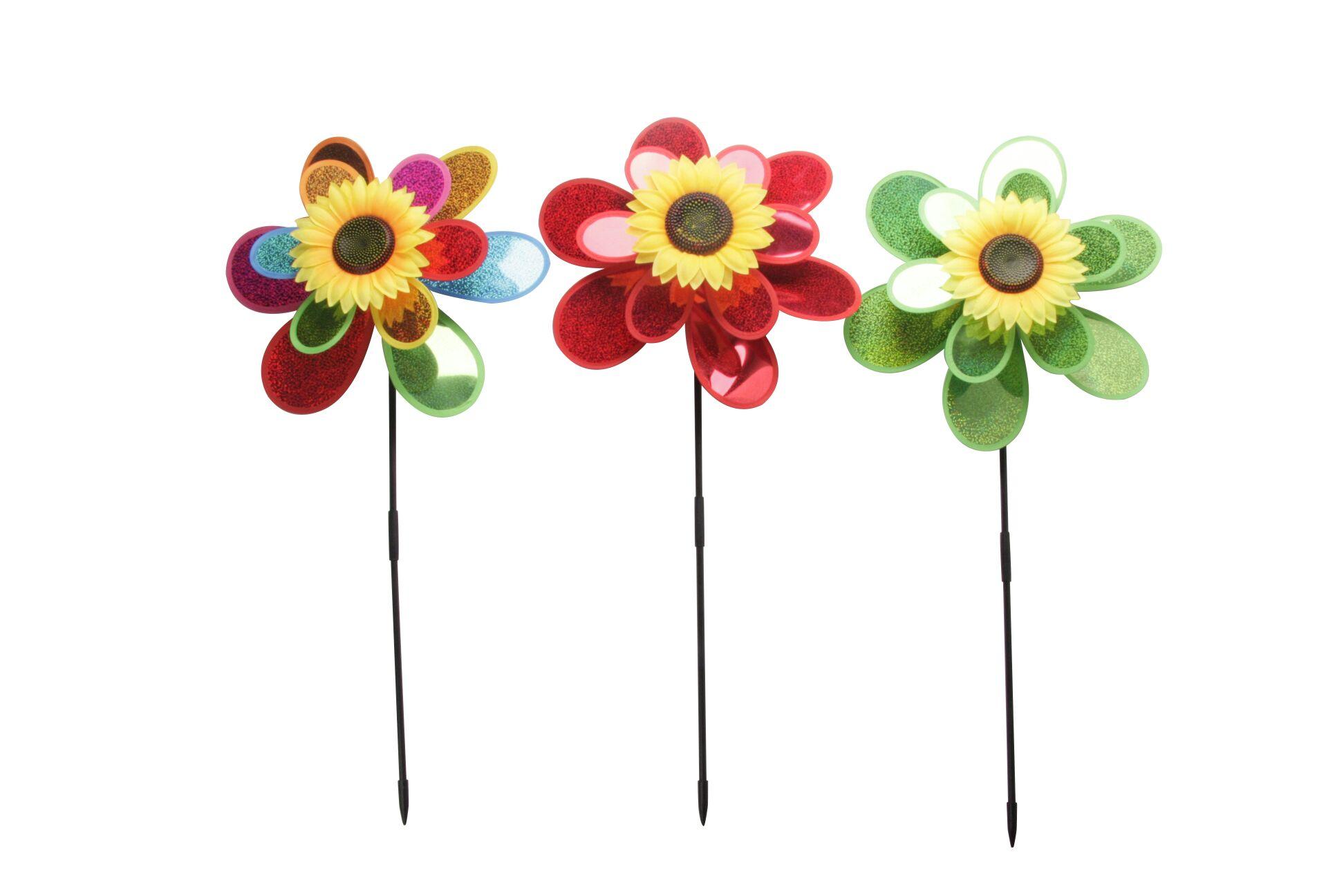 塑料风车 风车 风转 塑料玩具 儿童玩具 diy玩具 3层凤转 太阳花