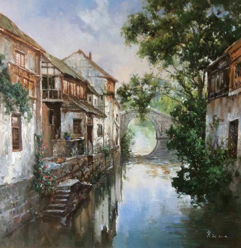 风景 古镇 建筑 旅游 摄影 油画 779_800