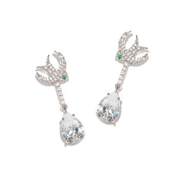 Luxurious full diamond swallow big gem pendant 925 silver needle nail.