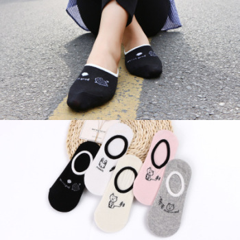 All cotton lady socks silicone anti-slip cartoon cat lady invisible socks socks manufacturers wholesale.