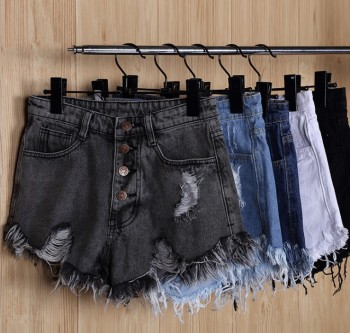High-waisted denim shorts and skinny wide-legged pants, jeans, pants, jeans, jeans, and shorts.