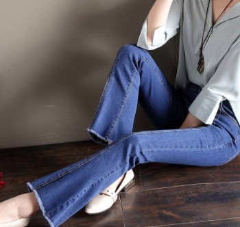 South Korean version of micro - flared jeans female spring fall with a split flared trousers.