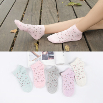 new cotton pieces of cotton small floral boat socks women's day cotton wool socks spring cotton stockings floor socks.