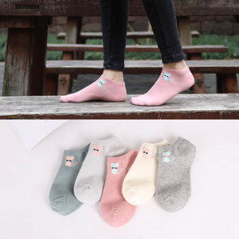 Cotton stockings summer pure cotton cat shallow-mouthed socks ladies' socks sweat and breathable floor socks.