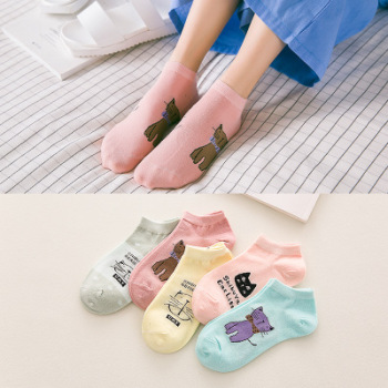 The new day is women's spring and autumn socks and candy color cartoon cat socks and socks.