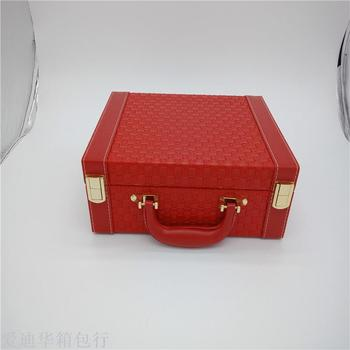 Portable jewelry box high - end braid simple large jewelry box earrings with earrings ring.