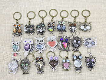 Vintage owl key chain watch necklace pendant watch student lady watch.