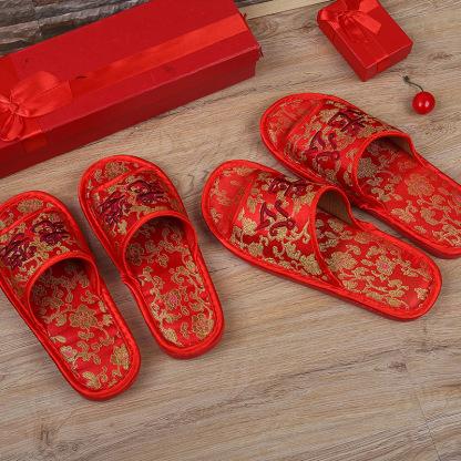 婚庆拖鞋结婚情侣室内大红色