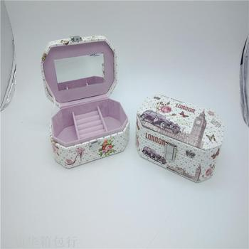 Portable jewelry box simple mini travel jewelry box small jewelry box earrings ring ear ring to receive the box.