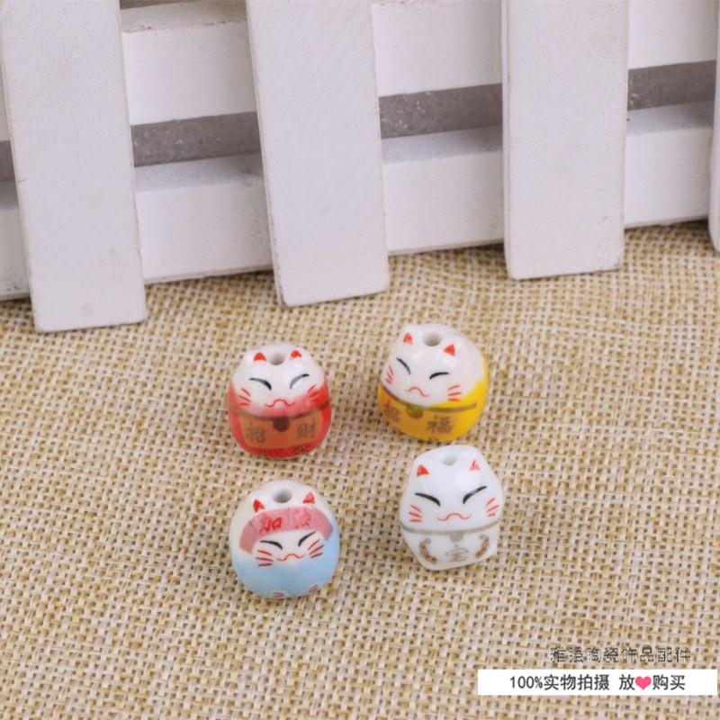 招财猫猪陶瓷手链散珠子diy手工工具中国结线材挂饰
