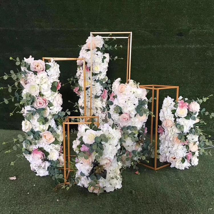 婚庆道具金色方框路引 铁艺几何花器花架 迎宾区橱窗布置