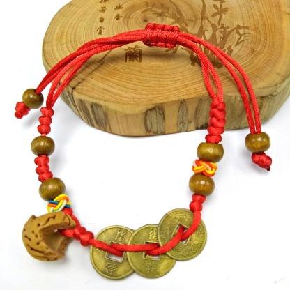端午节红绳儿童宝宝款压惊桃篮红绳手链 3铜钱可抽拉红绳手链批发