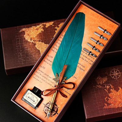 【包邮】欧式复古羽毛笔套装哈利波特蘸水钢笔礼盒装实用生日礼物送男女生