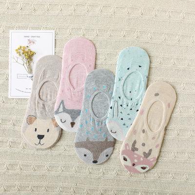 Spring  new fox female invisible socks animal cartoon socks with silica gel anti-skid stockings lovely student socks.
