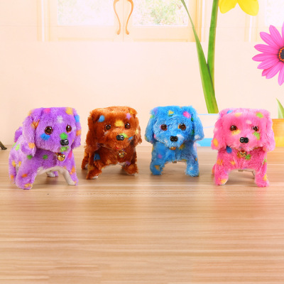 Factory direct sales plush colorful light forward regressive dog creative pet children 's electric toy market source