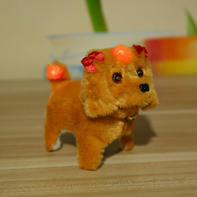 Factory direct sales go backwards dog fur dog eyes bright will be called electrical toy dog plush toys