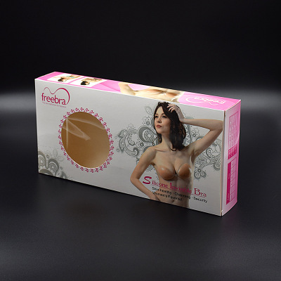Silicone bra color box invisible bra special color box Silicone breast underwear packaging box spot wholesale.