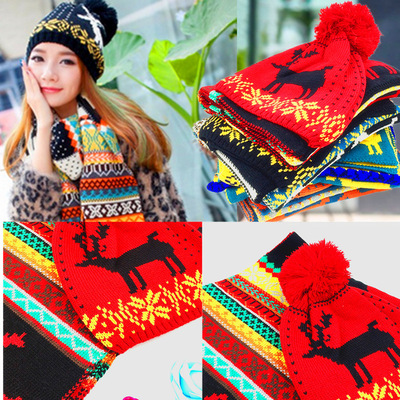 465ba615088 South Korean version of autumn and winter hat scarf suit 100 women warm wool  knit hat
