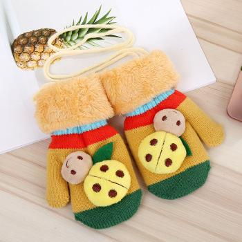 儿童毛线针织手套 新款加绒加厚男童女童冬季
