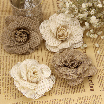 New European and American hand-made linen flowers Christmas wedding party shoes, hats and flower decoration supplies can be customized