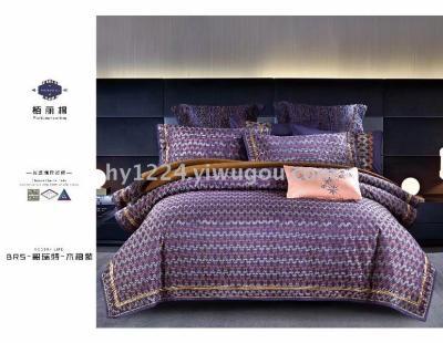 Bedclothes four-piece comforter pillow full cotton sateen silk jacquard boree cotton show side four pieces.