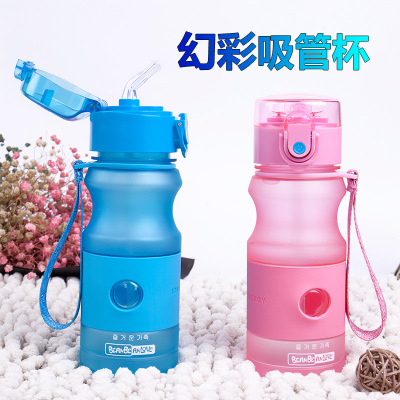 Grinding plastic straw cup adult children general water cup portable student water bottle carry the cup on hand.