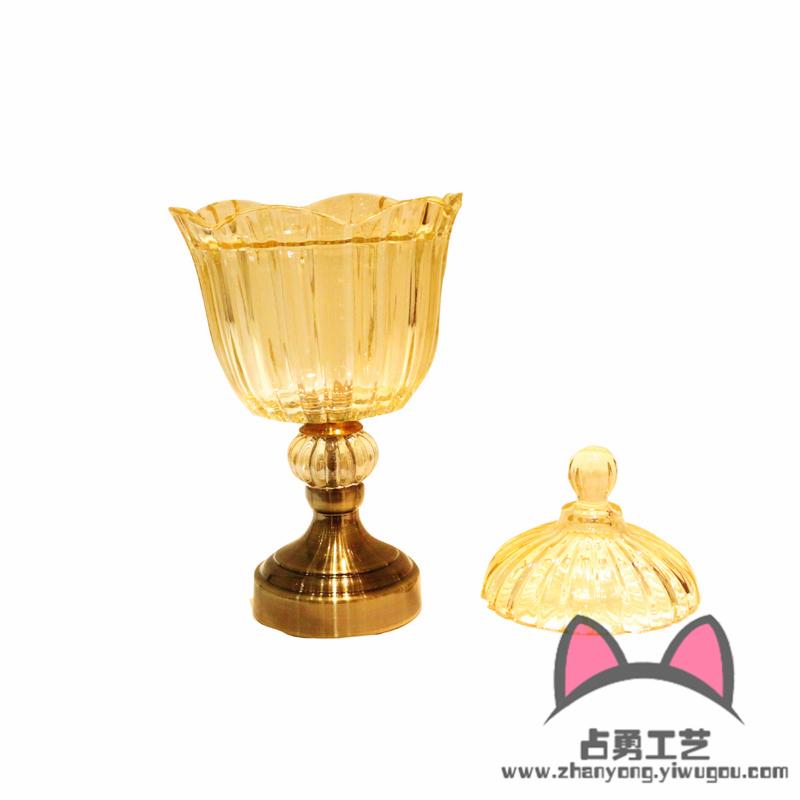 家居软装饰品欧式样板房奢华摆件水晶高脚欧式玻璃花瓶糖果罐果盘