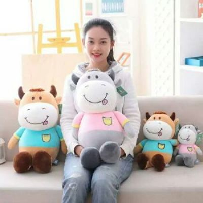 Promotional Duoai Animated Stylish Stuffed Cow Doll For Christmas Gift