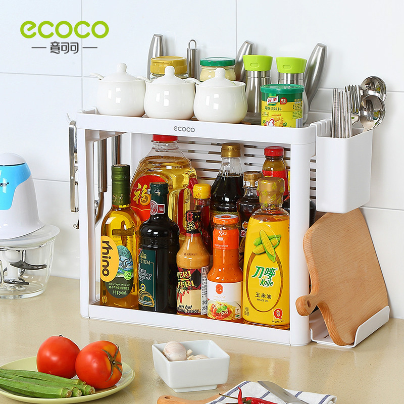 Charmant [full Set] Tabletop Kitchen Rack Simple Plastic Multi Function Large  Capacity Collection And