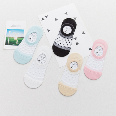 spring and summer all-cotton socks lace invisible socks with pure color,thin slip, shallow-proof shallow-proof socks.