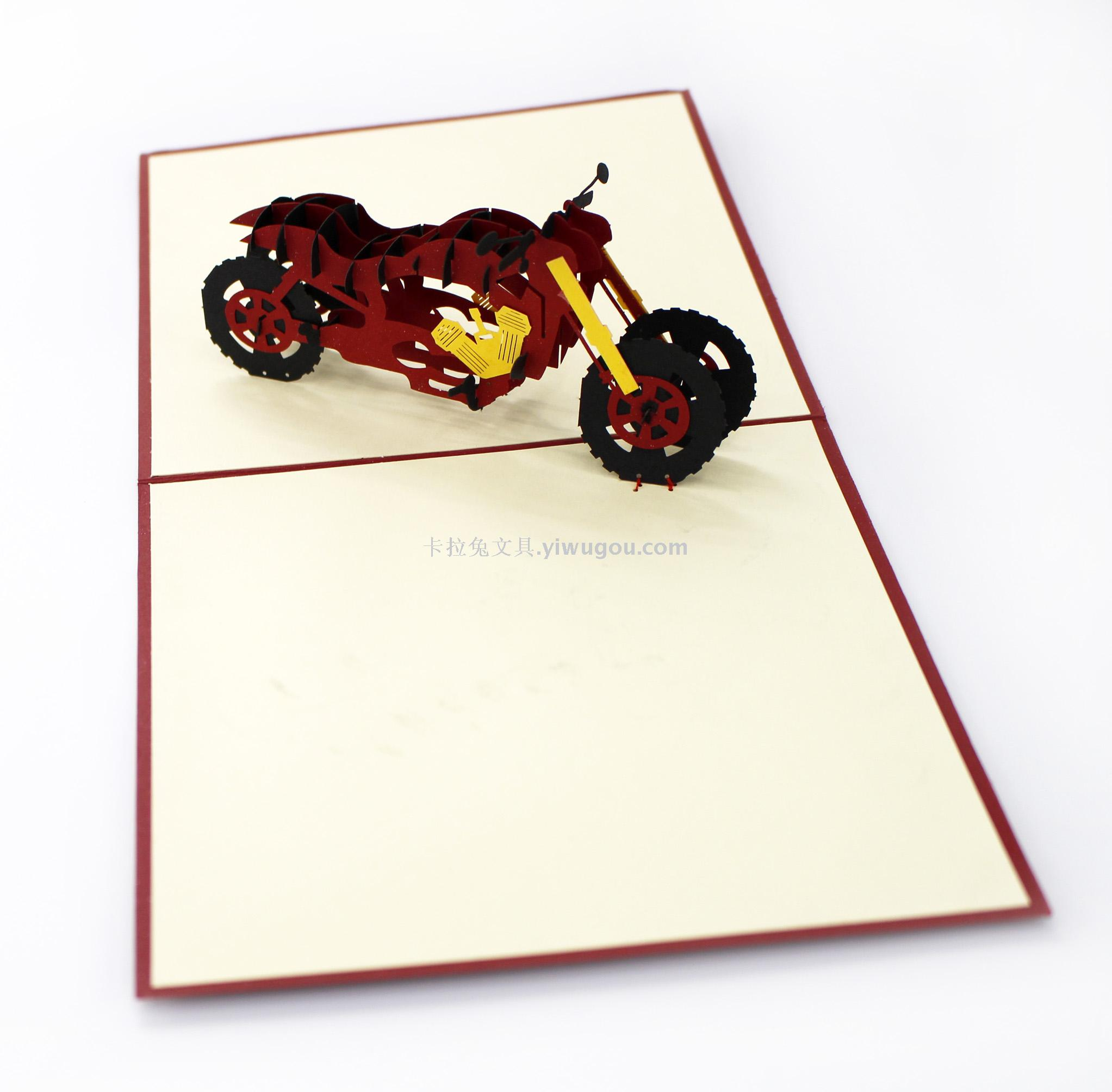 Supply Birthday Card Fathers Day 3d Greeting Card Motorcycle