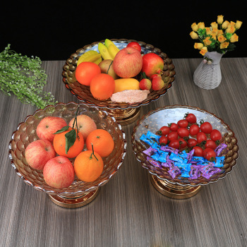 欧式珠点果盘家用玻璃果斗创意凤尾水果盘客厅大号糖缸盘水晶托盘