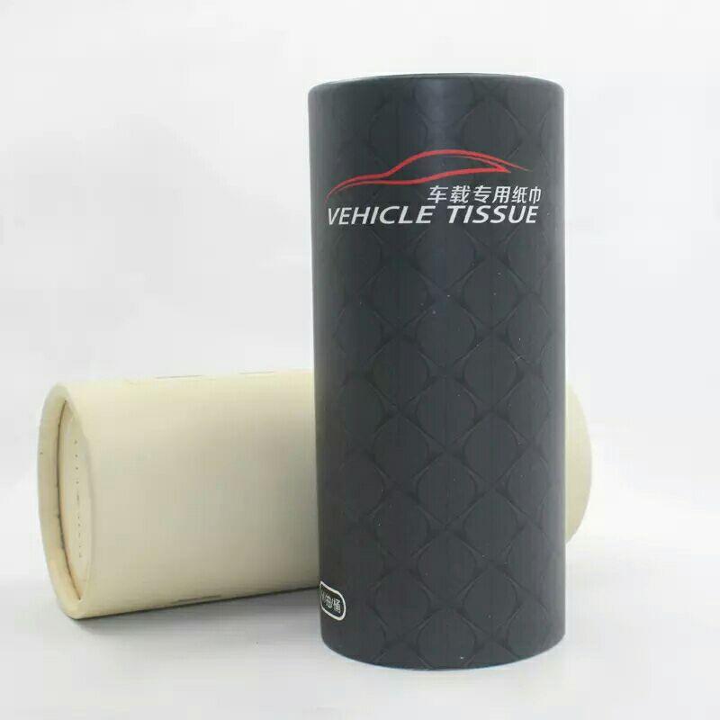 车载桶装纸巾盒创意车用圆筒纸巾汽车用品水杯位抽纸